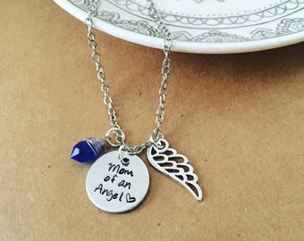 Mom of an Angel / hand stamped necklace / child remembrance necklace / miscarriage / grievance gift / baby / mother to an angel / angel wing