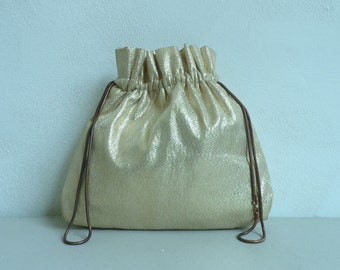1960s Gold Drawstring Evening Purse, Sparkly Evening Bag, Prom Purse, Gold Purse, Drawstring Purse, Gold Sparkles, Gold evening bag, vintage