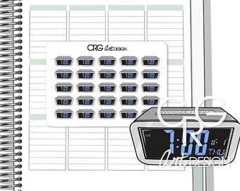 Digital Alarm Clock Stickers | Planner Erin Condren Plum Planner Filofax Sticker