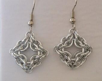 Chainmail Celtic Diamond Earrings