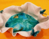 Handmade porcelain bowl, Handmade Ceramic Bowl,Handbuilding, Ceramic and Pottery, Relief Butterfly, Turquoise Crackle, House warming gift