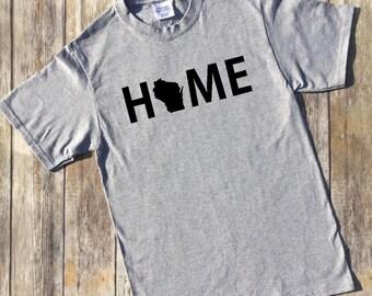 Wisconsin Home Shirt, Wisconsin, Shirt for Wisconsin fan, Wisconsin shirt, Wisconsin gift, Christmas gift for him, Christmas gift for her