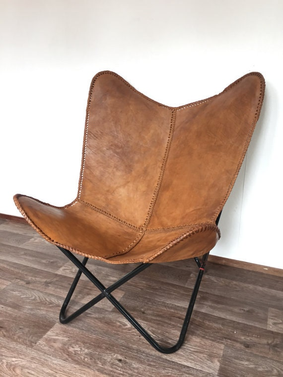 leather butterfly hand made chair rich brown. Black Bedroom Furniture Sets. Home Design Ideas
