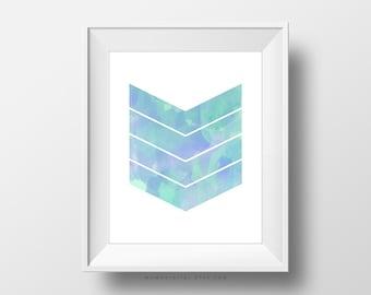SALE -  Blue Watercolor Chevron, Shape Pattern, Handpainted Illustration, Baby Boy Nursery, Ocean Sea Color, Dorm Wall Print, Decor