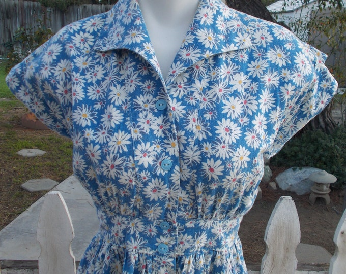 Vintage 40s Blue White Yellow Floral Cotton Day Dress Daisy Flowers Womens Handmade Below The Knee Button Shift Dress