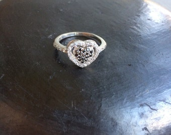 Sterling silver white and black heart  ring size 8 delicate love