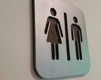 Restroom Sign Man Cave Wall Art MDF Board Cut Out Logo With Faux Metal  Finish On