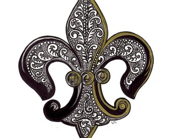 5x7 or 8x10 Fleur De Lis New Orleans Black Gold Drawing Picture Art Print Gift