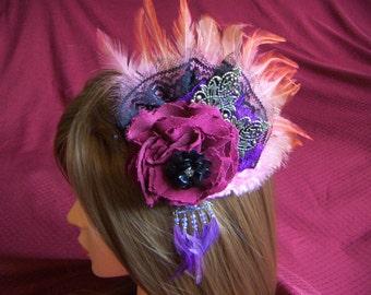 Wedding Fasciantor Steampunk Head Piece Fascinator Burgundy Wine Deep Purple Feathers  Steampunk Flower CLEARANCE SALE