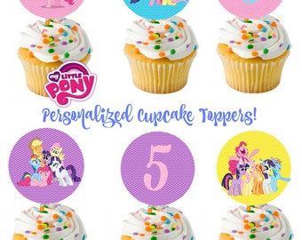 My Little Pony Cupcake toppers - favor tags- party circles - personalized