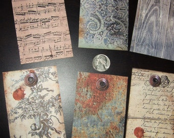 SIX Vintage Toile Music Sheet Background Hang Tags / Jewelry Tags