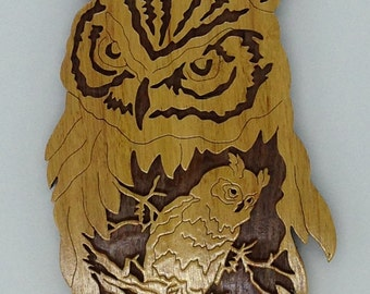 Nature's Majesty Owl Plaque - Canarywood & Walnut