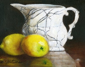 "lemon painting   ""Alice's Cream Pitcher"", giclee print, traditional art, still life , original art, oil painting, painting with lemons"