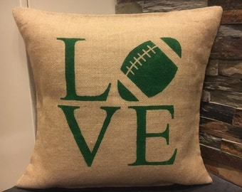 Football, burlap pillow cover, 18x18, sports, shabby chic, farmhouse decor, decorative pillow, accent pillow, LOVE, football pillow