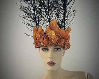 Orange and black fire headpiece