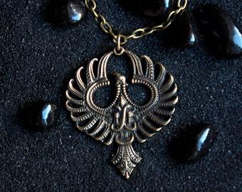 Phoenix Bird FireBird Mythical Bird Phenix Garuda Bird Necklace Phoenix Pendant: Bronze Handmade Pendant with chain