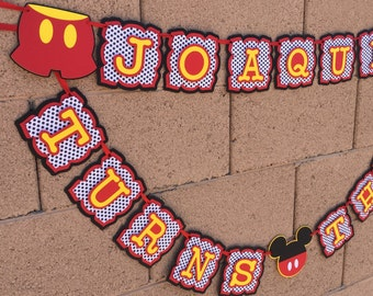 Mickey Mouse Birthday Banner, mickey name banner, mickey age banner