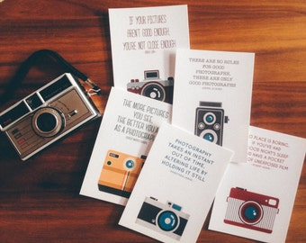 SALE Photography Cameras postcards set, print, gift, home wall decor, vintage, photographers quotes