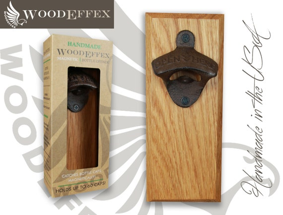Bottle Opener Magnetic Cap Catcher Handcrafted Oak Wood With