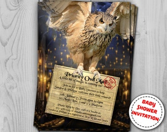 Harry Potter Invitation - Baby Shower and Birthday - Digital Party Invitations by Printadorable - Customizable - 5 x 7 inches