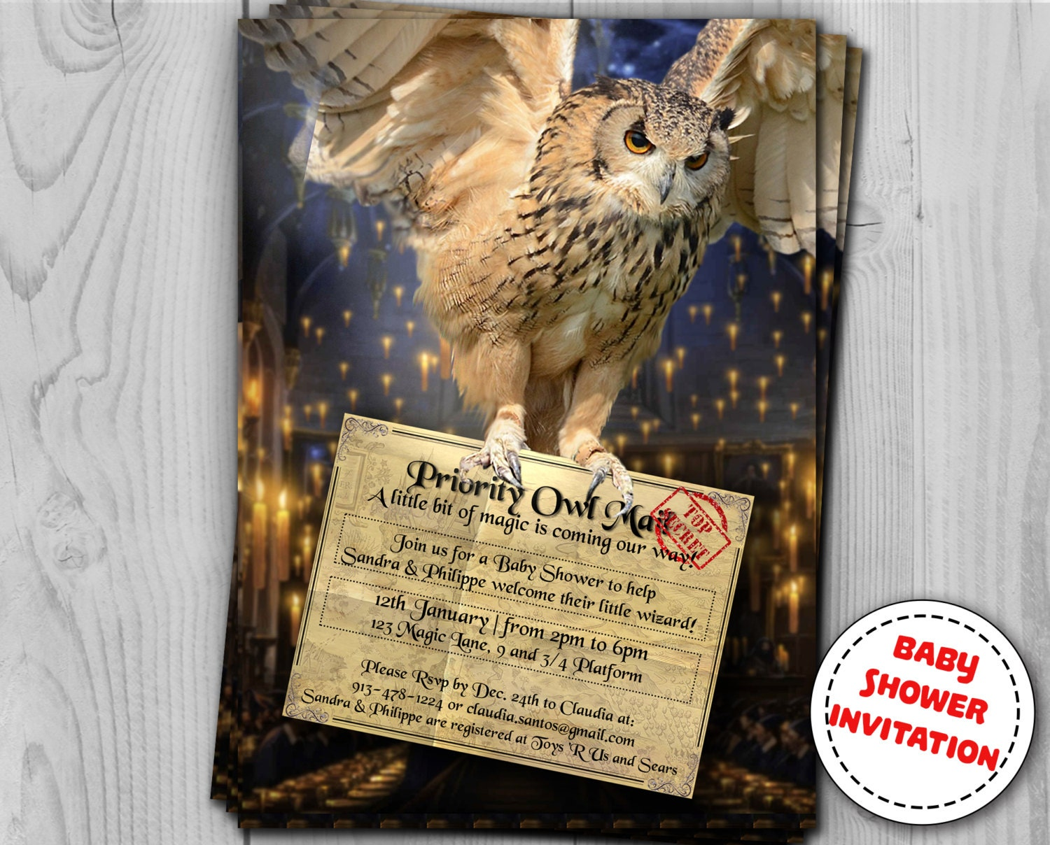 Harry Potter Invitation - Baby Shower and Birthday - Party ...