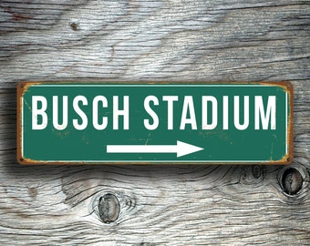 BUSCH STADIUM SIGN, Vintage style Busch Stadium Sign, Busch Stadium Signs, Home of the St. Louis Cardinals, Baseball Signs, Cardinals Decal