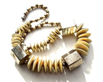 VINTAGE: 1970's - Bone and Aluminum Necklace - Boho - Gipsy - Hippie - Ethnic - India