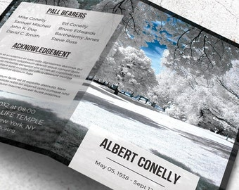 Funeral Program, Printable Funeral Template, Memorial Service Program, Editable with Microsoft Word, Instant Download | Let it Snow!