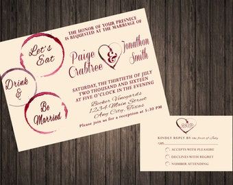 Wine Wedding Invitation Set - PRINTABLE