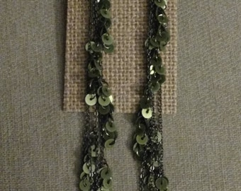 Green Sequins Multiple Chains Earrings