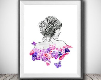 Girl art print, Lady and Butterfly Art, Black and White print, Fashion illustration, Black and white art print, Nursery Wall Decor, Girl Art
