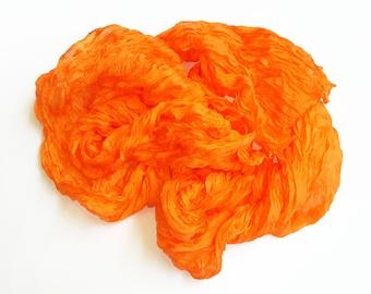 """Orange Ruffled silk scarf 24"""" x 92"""" (60x235cm)"""