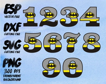 Bat man number  Clipart , SVG Cutting , ESP Vectors files , T shirt , iron on , sticker ,Personal Use
