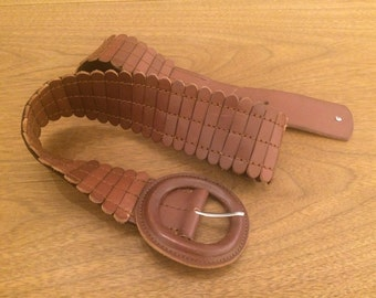 Large Band Elastic Brown Leather Belt