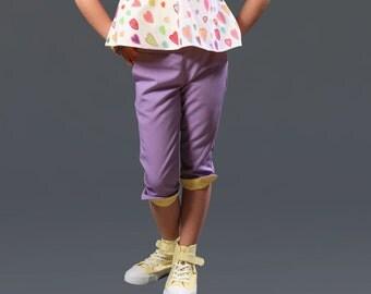 Girls capri pants/Toddler girl cropped pants/Kids capris pants/Pedal pushers/Cotton pants/3 4 pants/Casual pants/Summer pants/Capri trousers