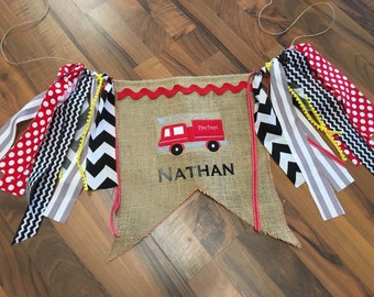 Personalized Fire Truck High Chair Banner