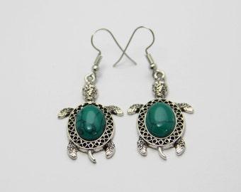 Turquoise earrings turtle earrings turtle jewelry vintage jewelry tortoise earrings green turquoise jewelry tortoise jewelry ocean jewelry