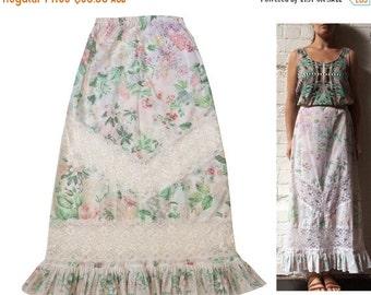SALE 25% OFF Cotton Floral Maxi Skirt Lace Cutout Ruffle