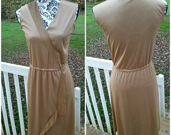 Vintage Sleeveless  Gold/Metallic 80's dress from JC Penny size 7/8