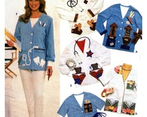 90's Simplicity 8005 Scrub Jacket For Childrens' Doctors, Dentists, Nurses, Medical Staff, Uncut, Factory Folded Sewing Pattern Size L-XL