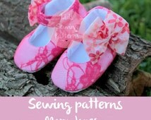 Baby sewing pattern PDF/ mary jane shoes for girls / girls party shoes/ newborn baby girl shoes/ infant baby shoes/ fabric shoes/ Size0m-12m
