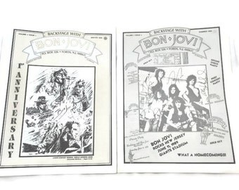 RARE Backstage With Bon Jovi Fan Club (Volume 2 Issue 1 Winter 1990) and (Volume 1 Issue 3 Summer 1989)