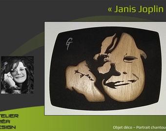 Portrait fretwork of Janis Joplin