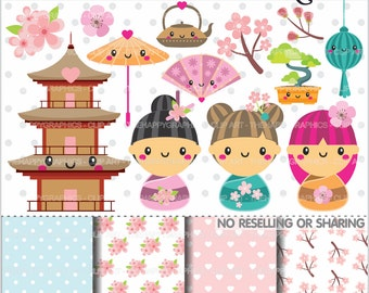 80%OFF - Kokeshi Dolls Clipart, Japanese Clipart, COMMERCIAL USE, Kokeshi Graphics, Momiji Clipart, Planner Accessories, Kimono
