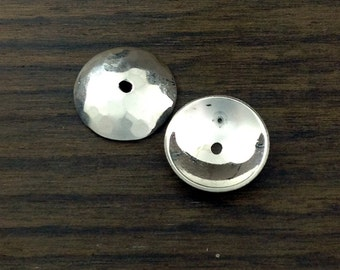 Beads caps, or cups, in sterling silver with a hammered finish. Large 13mm