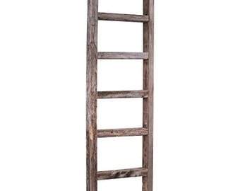 Barnwood Rustic Wooden Ladder, Weathered Gray, Reclaimed Wood Decorative Ladder Shelves