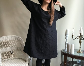 Linen Dress, Oversized black dress, Loose long sleeve dress, womens tunic, plus size dress, black dress, linen dresses for woman