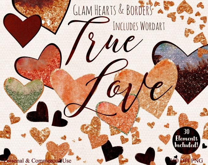 FALL AUTUMN LOVE Clipart Commercial Use Watercolor Clip Art True Love Word art Metallic Copper Gold Glitter Heart Confetti Wedding Clipart