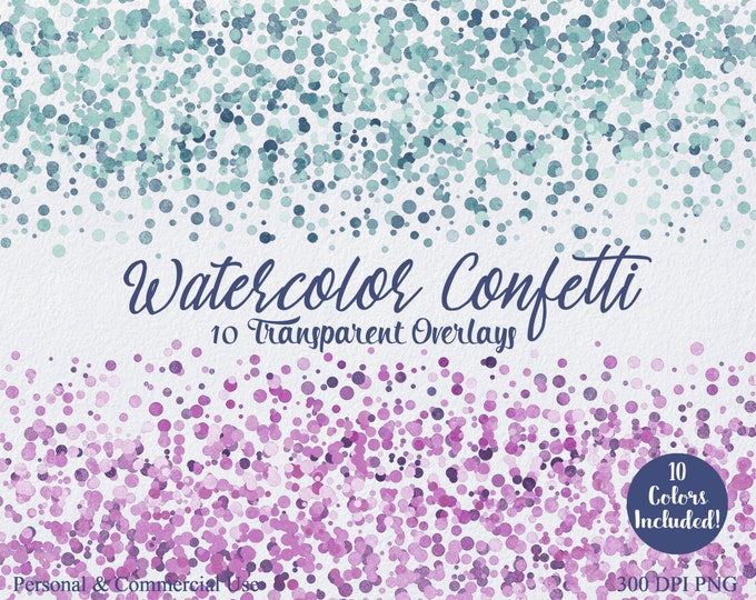 PARTY CONFETTI BORDER Clipart Commercial Use Clip art 10 Confetti Transparent Overlays Purple Pink Teal Mint Wedding Invitation Clipart