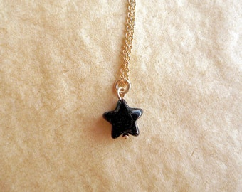 Tiny black onyx star necklace, Solid 14k gold and onyx necklace, Black star pendant, Simple minimalist necklace